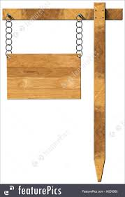 empty wooden sign hanging with metal chain on a wooden pole isolated on a white background