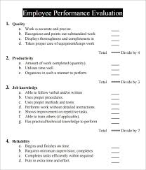 Job Performance Evaluation Form Templates Free Employee Evaluation Forms Printable Cycling Studio