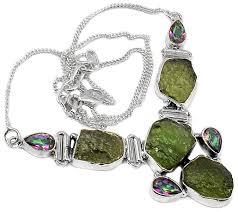 beautiful moldavite necklace with rainbow topaz adjule chain 220 00