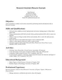 Research Assistantume Template Of For Internship Sample Format