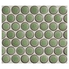 Penny Round Mosaic - Green Tea - Matte