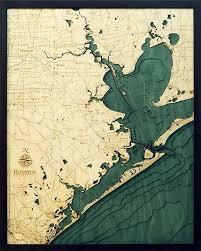West Galveston Bay Depth Chart Houston And Galveston 3 D Nautical Wood Chart 24 5 X 31 In