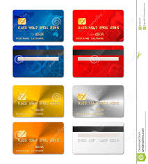 Visa Card Designs Set Of Realistic Credit Cards From Both Sides In Different