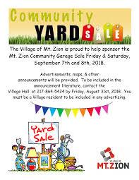 Community Garage Sale Weekend Mt Zion Convention Center