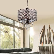 marya 4 light antique copper round drum crystal chandelier ceiling fixture