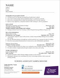 Resume For Nursing Assistant Student Resume Resume Examples