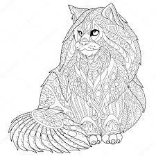 Illustrazione Maine Coon Adulti Zentangle Stilizzato Del Gatto