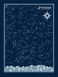 Southern Hemisphere Star Chart Serigraph By Brainstorm