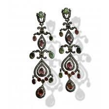 chandelier earrings with tourmaline