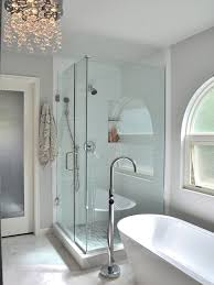 large trendy master white tile and subway tile marble floor and beige floor bathroom photo in