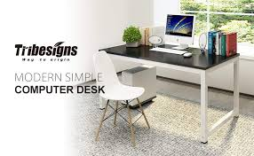 Office desk modern Simple Tribesigns 55 Amazoncom Amazoncom Tribesigns Computer Desk 55