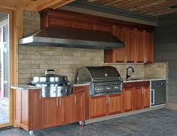 Stainless Steel Outdoor Kitchen Stainless Steel And Wooden Outdoor Kitchen Cabinets Island