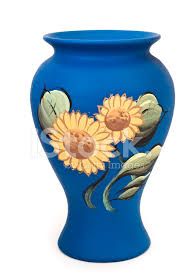 pottery with sunflower painting stock