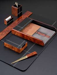 burled wood and leather six piece desk blotter set with free