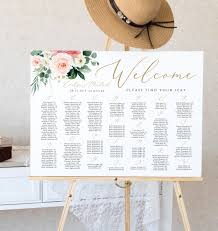 Seating Chart Wedding Sign Alphabetical Seating Chart Sign Template Editable Wedding