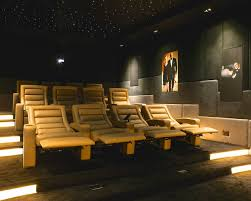 modern home theater. large contemporary enclosed carpeted and gray floor home theater idea in london with beige walls modern