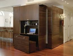 Savvy Home Office With A Wooden Bench That Disappears Into The Unit  C