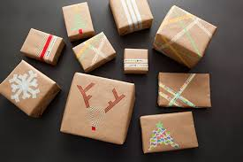 Colorful Tape Brown Paper Christmas Gift Wrapping