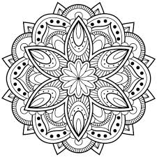 Seamless and minimal vector pattern with floral shapes. Flower Mandala Coloring Pages Coloring Rocks