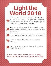 2018 Light The World Calendar 2 Ways To Help Lds Youth Lighttheworld Lds Light The