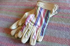 las striped garden gloves s m