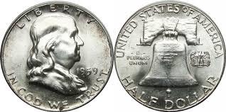 1959 Franklin Half Dollar Value Chart 1959 Franklin Half Dollar Silver Coin Values