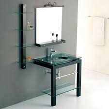 Glass Bathroom Cabinets Bathroom With Glass Vanity Featured Bottom Shelf Beautiful Glass