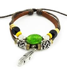 real spark tm men women handmade tribal green beads feather charms leather wrap bracelet cd127ytxu4t