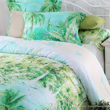 blue green turquoise bedding sets queen king size palm tree silk quilt duvet cover polka dot sheet bed brand bedspread linen