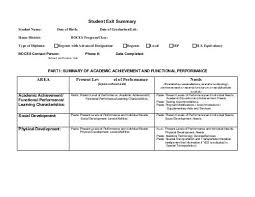 Student Exit Summary Template Instructions