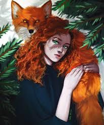 Лиса, девушка, рыжая девушка, ведьма, арт, колдунья | Лиса, Рыжие, Рыжие  девушки
