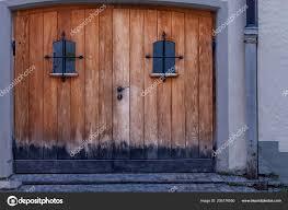 old wooden door trim metal ornaments closeu stock photo