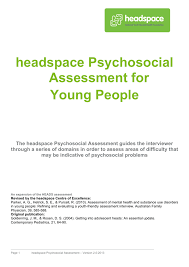Psychosocial Assessment Awesome Headspace Psychosocial Assessment Tool