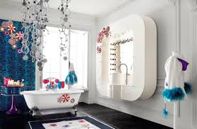 Best Kids Bathroom Decorating Ideas With Unique Floating Sink And White  Oval Acryli