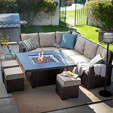 patio furniture with fire pit table. Unique Fire Belham Propane Fire Pit Table Set Outdoor Sofa Sectional Conversation Patio  Furniture To With A