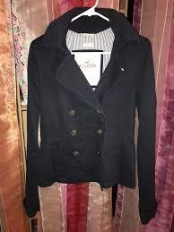 hollister womens navy blue on peacoat jacket sz medium coat hooded