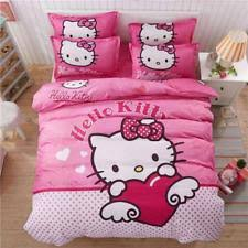 S 4pcs Hello Kitty Pink Polka Dots Bedding Set Kids With Duvet Cover Bed  Sheet Set