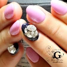 青みピンクとネイビーのシンプルカラーリングジェルネイル Plusg