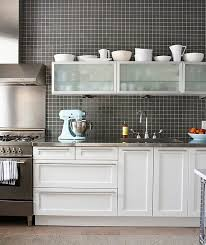 white cabinets with stainless steel countertops. View In Gallery Kitchen With Stainless Steel Countertops And Black Grid Backsplash Inside White Cabinets