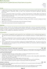 Mechanical Design Engineer Resume Sample Mechanical Engineering