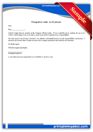 printable resignation letter by employee form generic