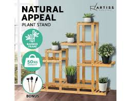 planter pot stand garden plant flower pots holder wooden display shelf natural bamy megasavercolor natural