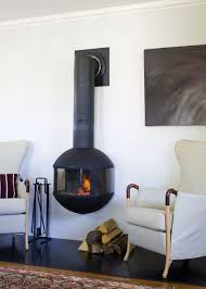 Designs Ideas:Room Decor Idea With White Armchairs And Modern Open Hanging  Fireplace And Dark