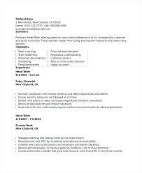 Resume Examples Bank Teller Good Summary For Bank Teller Resume Best