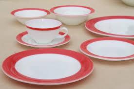 vintage Pyrex flamingo pink border milk glass dishes, retro red \u0026 white dinnerware set
