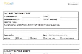 Deposit Receipt Sample Security Deposit Receipt Template Dotxes