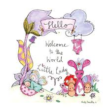 Extra Large Welcome To The World Little Lady Keepsake Card