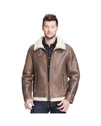 wilsons leather brown big tall rugged genuine lamb shearling coat for men