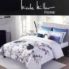 nicole miller home king duvet cover set white w pea purple flowers fl