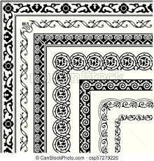 Border Lines Ornamental Vinage Set With Corner